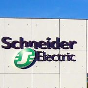 Schneider Electric logo on factory