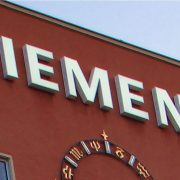 Siemens logo on building